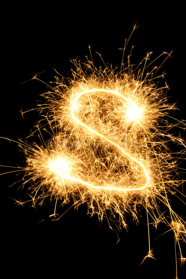 Sparkler letter of English alphabet royalty free stock photography