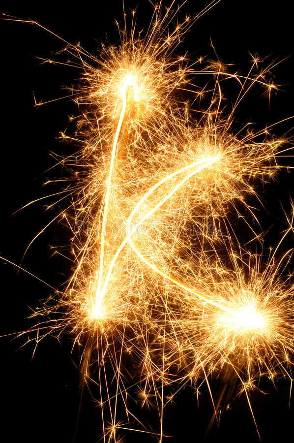 Sparkler letter of English alphabet royalty free stock photo