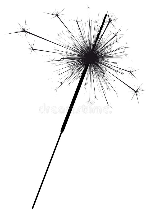 sparkler throwing out sparks - black silhouette - shape template stock vector