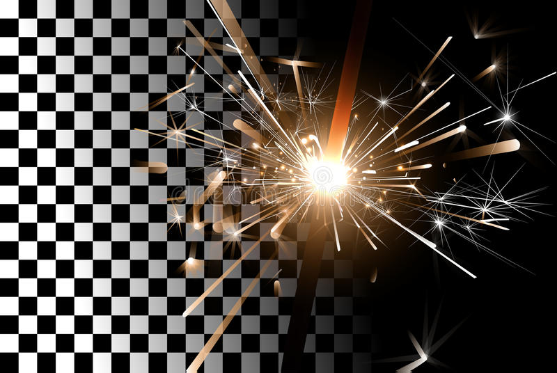 Sparkler on a transparent background vector illustration