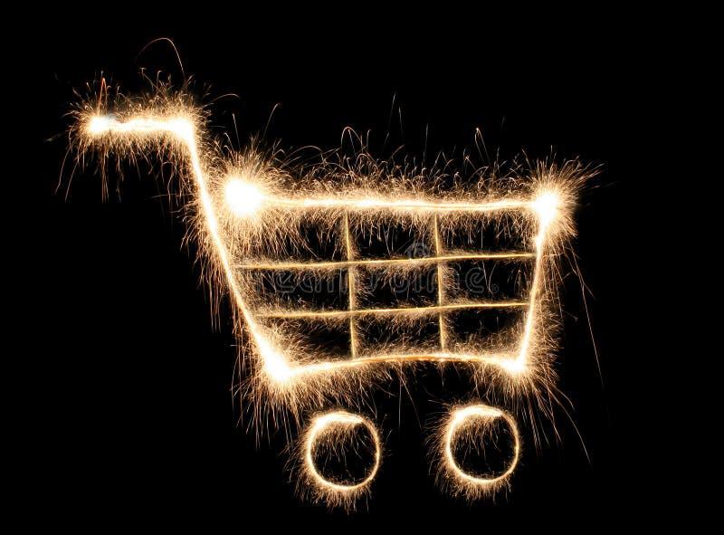 sparkler wózek na zakupy zdjęcie stock