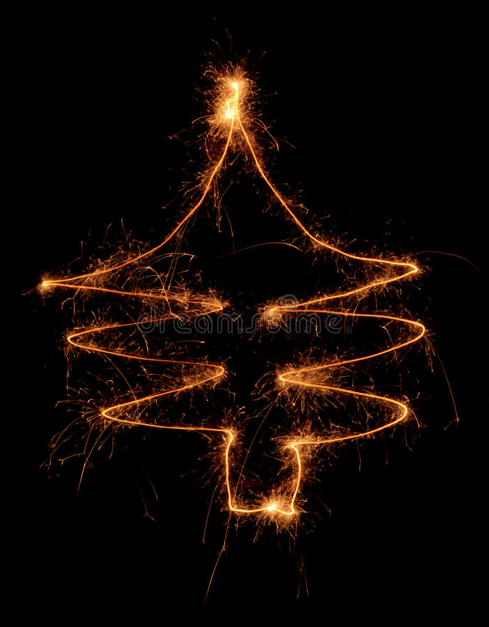 Sparklers chistmas tree royalty free stock image