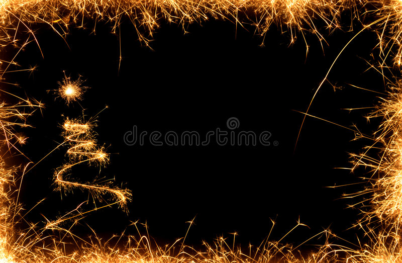 Sparklers chistmas tree stock images