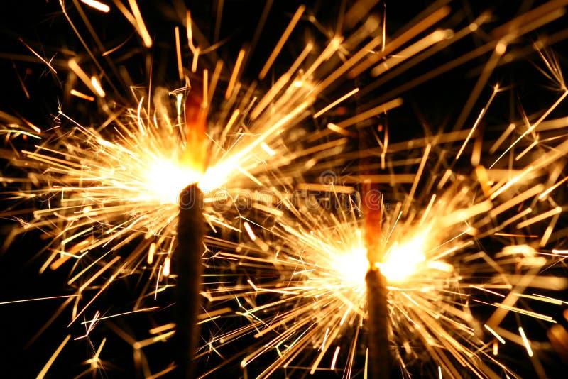 Sparklers da celebração foto de stock
