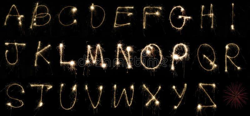 Sparklers del alfabeto imágenes de archivo libres de regalías