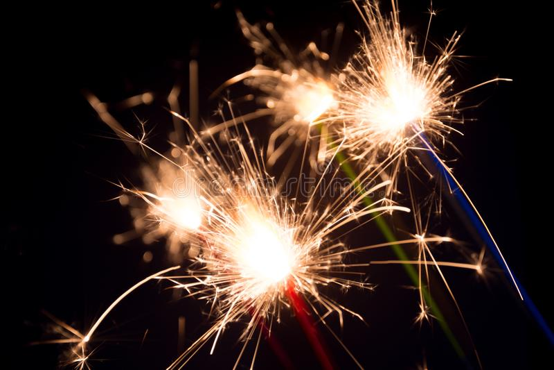 Sparklers of joy stock image