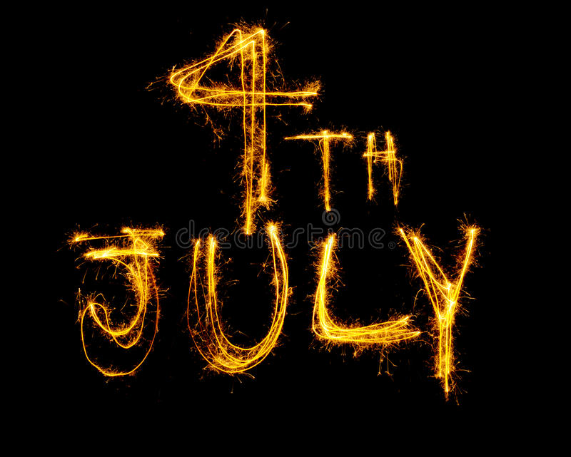 Download Sparklers spell 4th July stock image. Image of celebration - 27530527