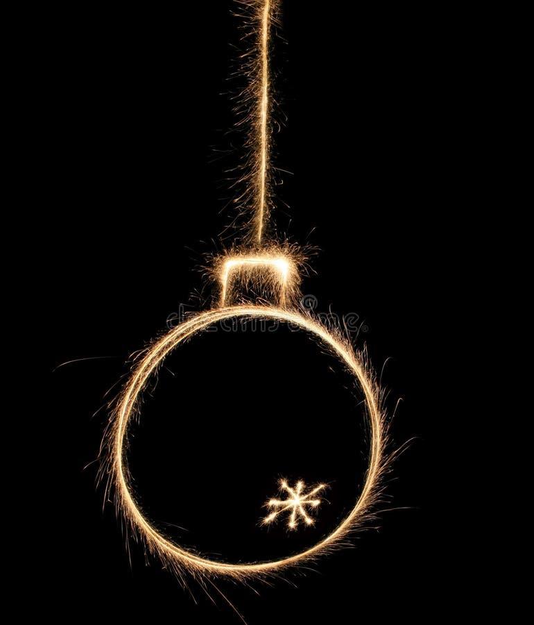 Sparklerweihnachtskugel stockbilder