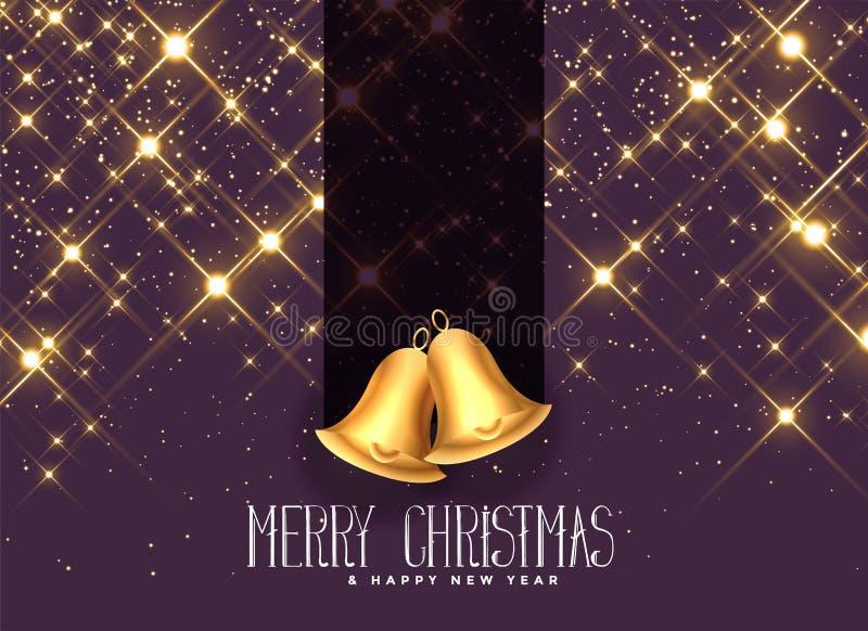 Sparkles dourados bonitos com fundo dos sinos de Natal ilustração do vetor