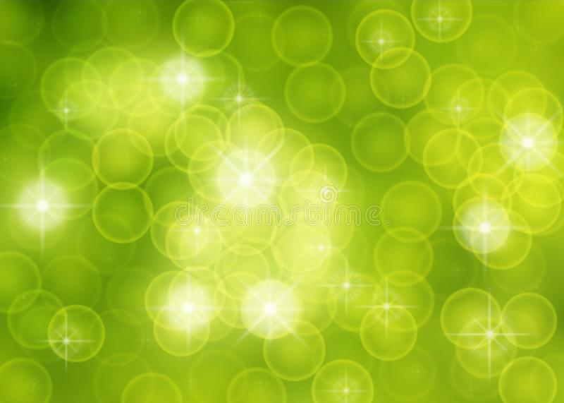 Sparkles e bolhas borrados abstratos no fundo verde ilustração stock
