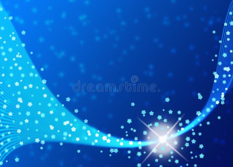 Sparkles, estrelas e curvas brilhantes no fundo azul de Gradated ilustração stock