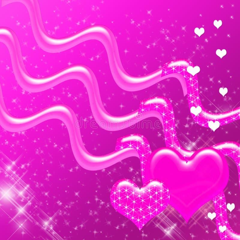 sparkles för bakgrundhjärtapink vektor illustrationer