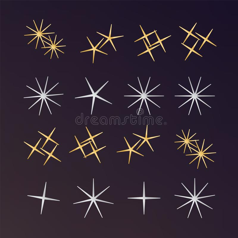 Sparkles, glowing light effect stars and bursts. Bright firework stock illustration
