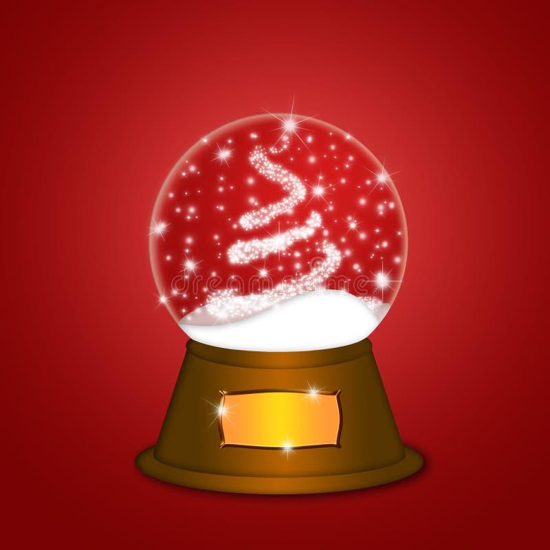 sparkles röd snow för juljordklotet treevatten vektor illustrationer