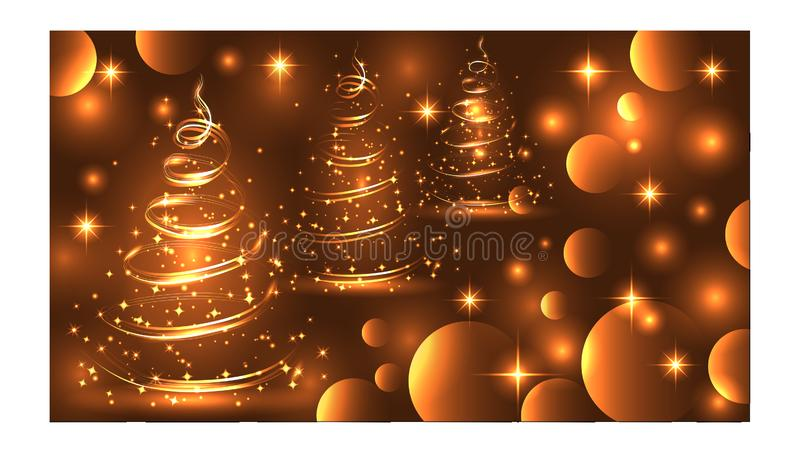 Sparkling, bright, New Year or Christmas background with a glowing Christmas tree, stars, snowflakes, effects. Happy Christmas and stock image