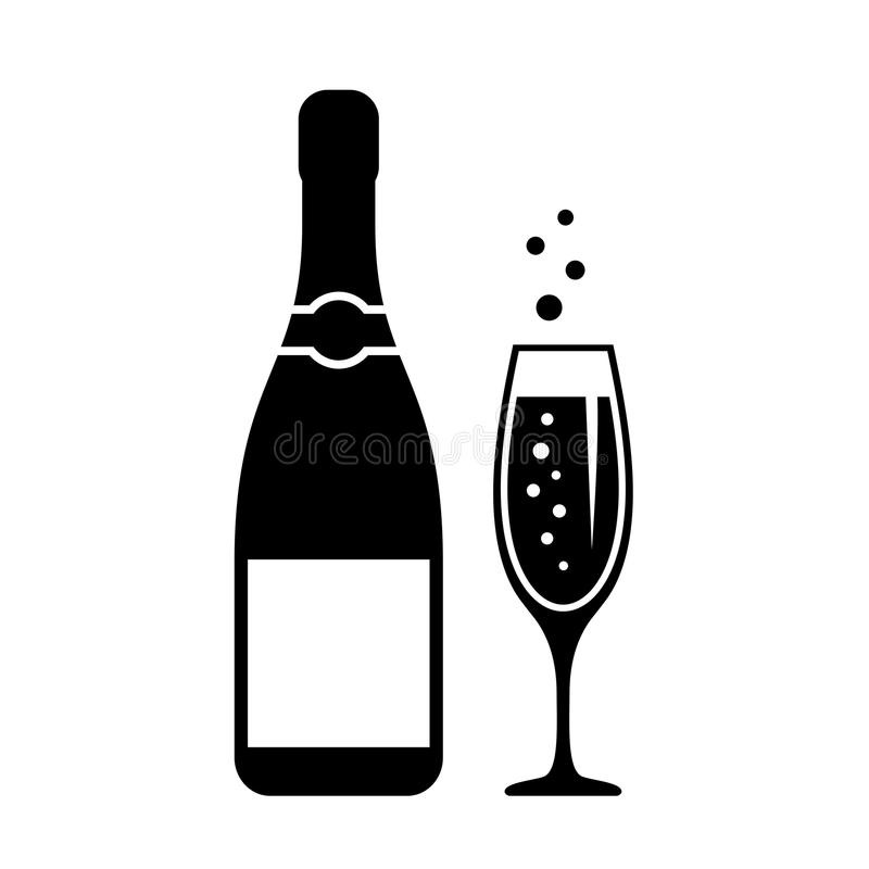 Sparkling champagne festive vector icon royalty free illustration