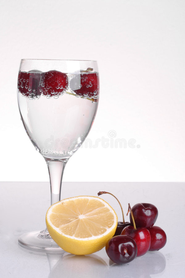 Sparkling cherry drink stock images