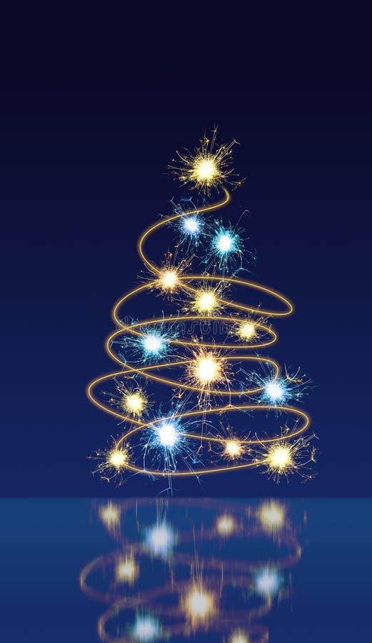 Sparkling christmas tree royalty free illustration