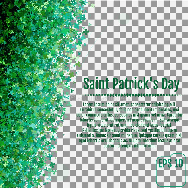 Sparkling clover shamrock leaves isolated on White background. A. Bstract St. Patrick`s day background for your greeting cards design or website. Vector royalty free illustration