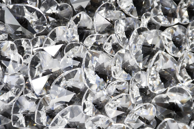 Sparkling Crystal Hearts royalty free stock photo