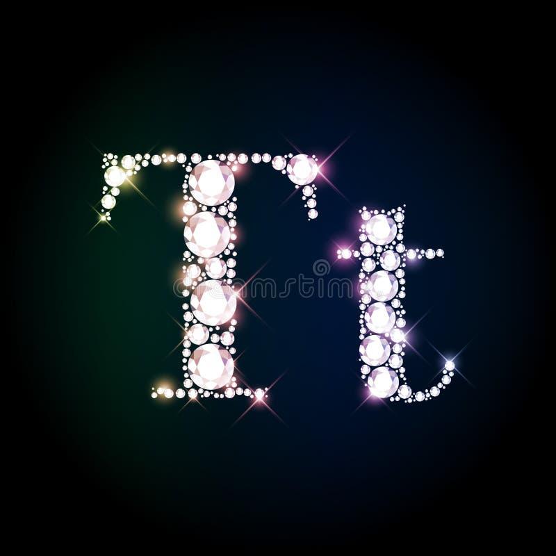 Sparkling Diamond Gemstone Letter T Stock Illustration ...