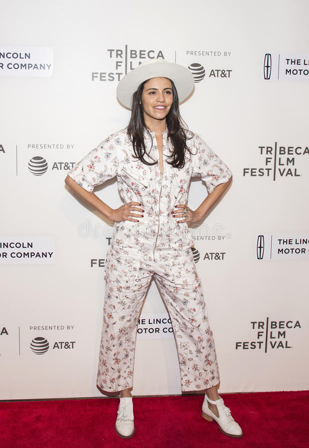 Sparkling Exec Producer Olga Segura Arrives at `The Dinner` Premiere in NYC at Tribeca Festival. Sparkling, radiant Executive Producer, Olga Segura arrives for stock photo