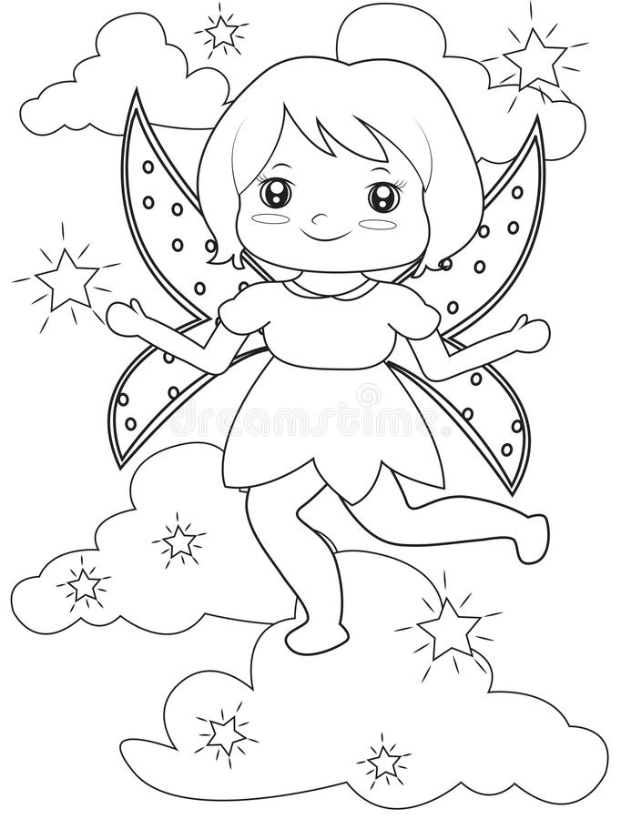 Sparkling fairy coloring page. Useful as coloring book for kids royalty free illustration