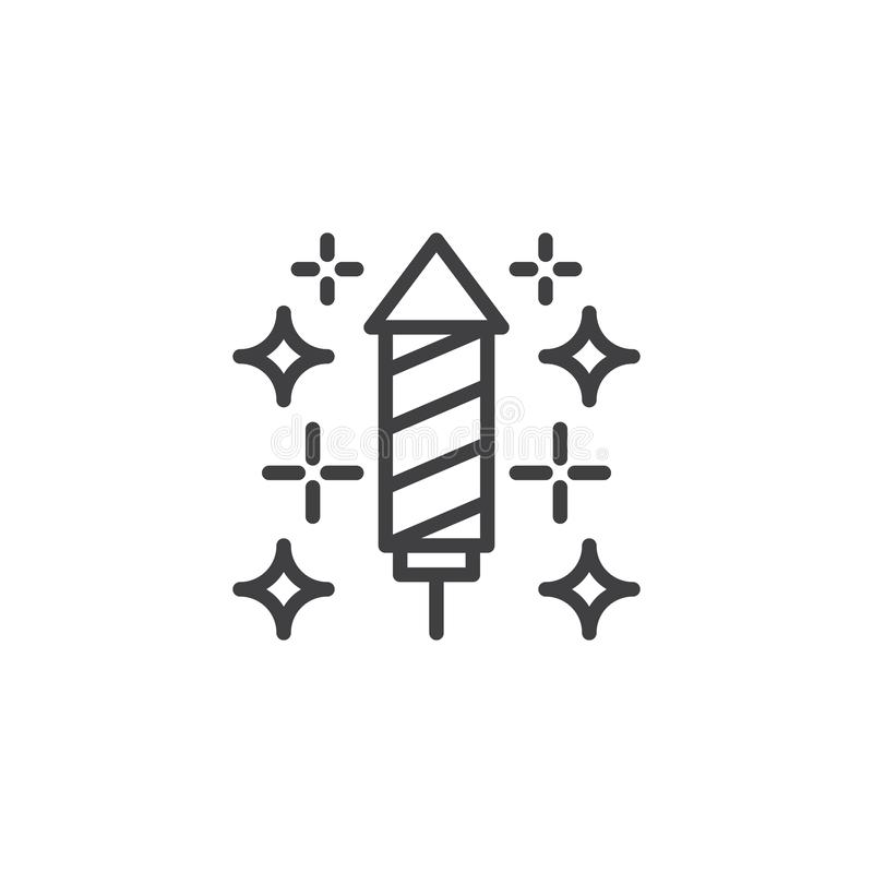 Sparkling firework rocket outline icon royalty free illustration