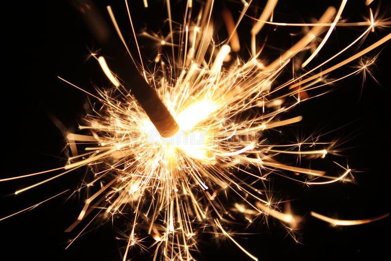 Sparkling fireworks stick stock image