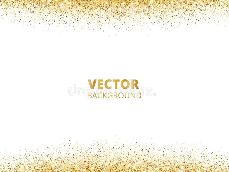 Sparkling glitter border, frame. Falling golden dust isolated on white background. Vector gold glittering decoration. stock illustration