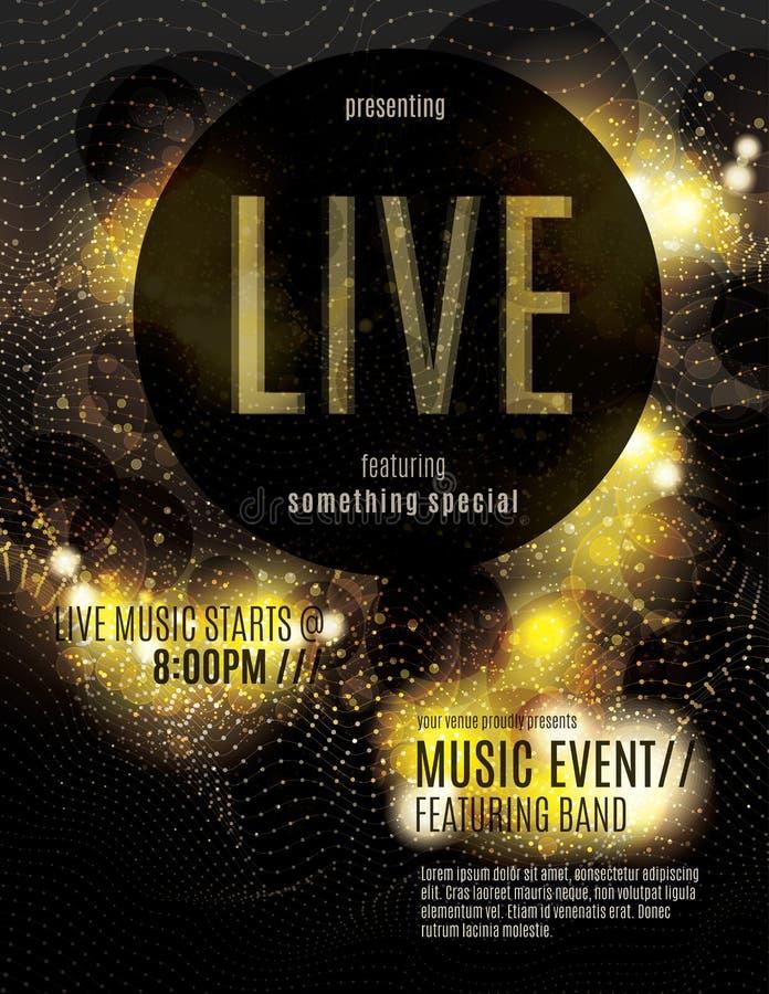 Sparkling gold live music poster template. Live music flyer template with sparkling gold dots royalty free illustration
