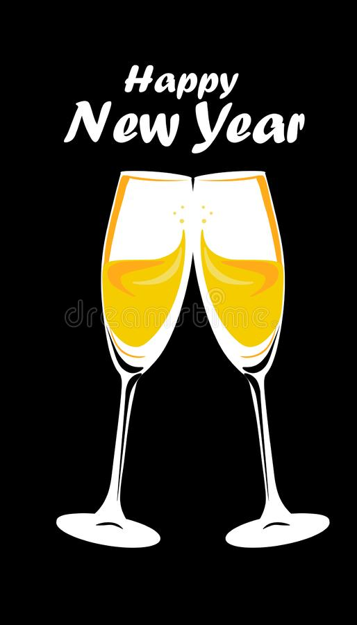 Web. Sparkling gold silver champagne glasses. Vector illustration. Happy New Year Lettering concept. Place for your text message vector illustration