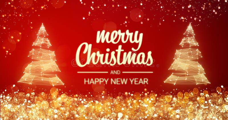 Sparkling gold and silver lights xmas tree Merry Christmas and Happy New Year greeting message on red background,snow vector illustration