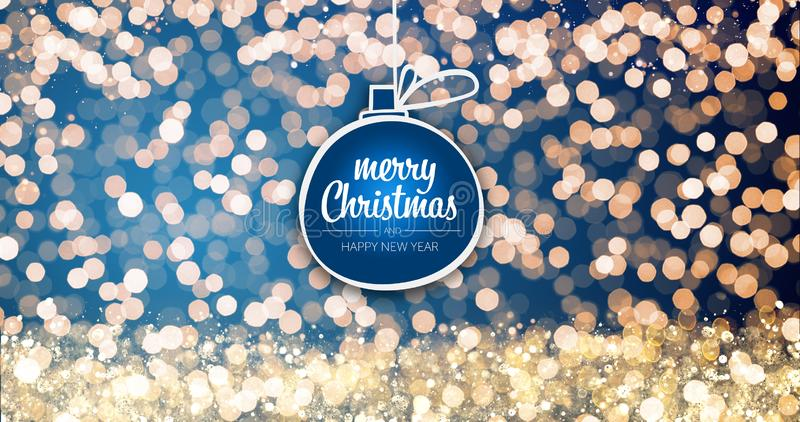 Sparkling gold and silver xmas lights with Merry Christmas and Happy New Year greeting message ball ornament on blue stock photos