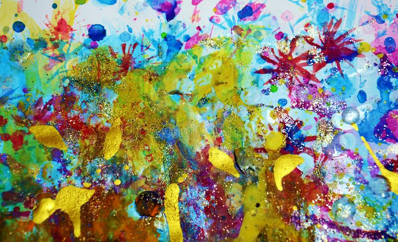 Sparkling Gold Violet Orange Blurred Paint Watercolor Waves Drips Splashes Purple Colorful Bright Colors And Contrasts