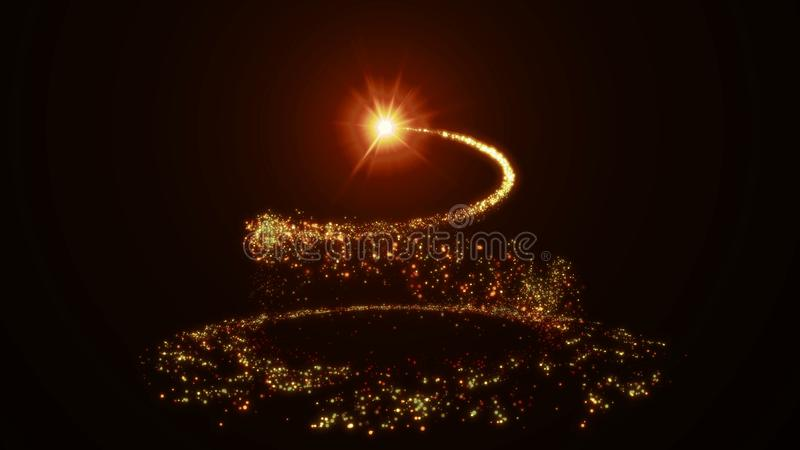 Sparkling golden glitter spiral effect. Shining Christmas magic particles and sparkles stock illustration