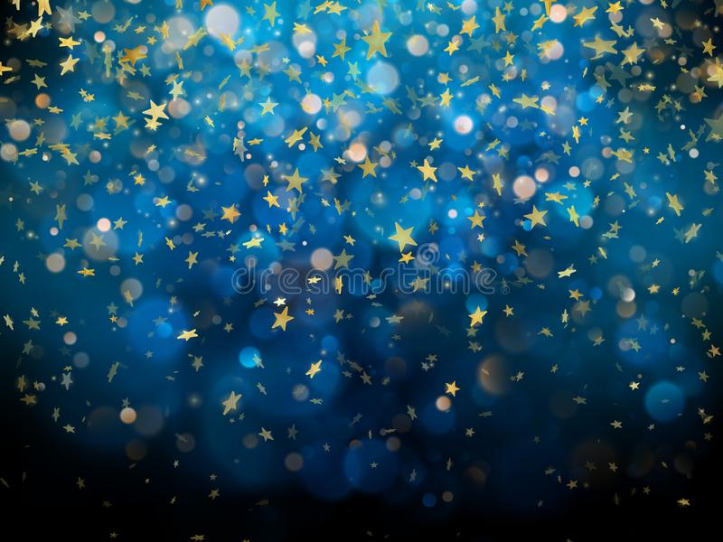 Sparkling golden magic glowing dust. Golden Christmas and New Year glittering stars on dark blue bokeh background. EPS stock illustration
