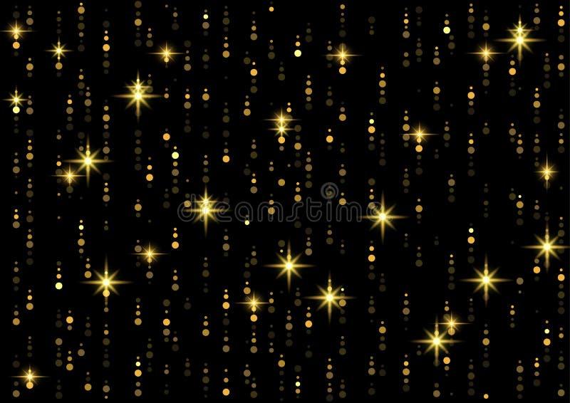 Sparkling Golden Rain Background royalty free illustration