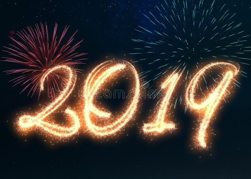 Sparkling Happy New Year 2019 Fireworks stock illustration