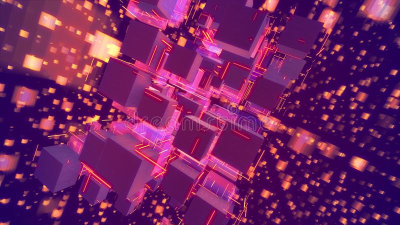 Sparkling Holographic Abstact Pink Cubes vector illustration