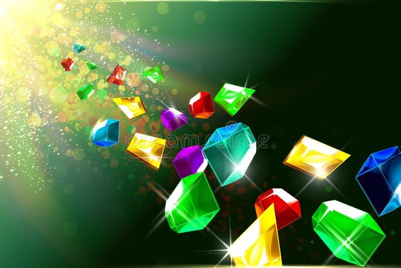Sparkling jewels floating background stock images