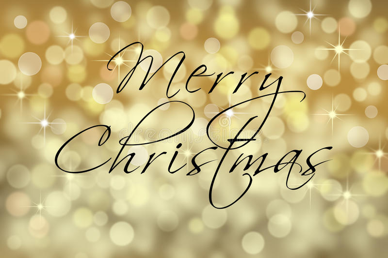 Christmas text card with bokeh background. Card with written Merry Christmas words. Gold and silver sparkle bokeh background stock images