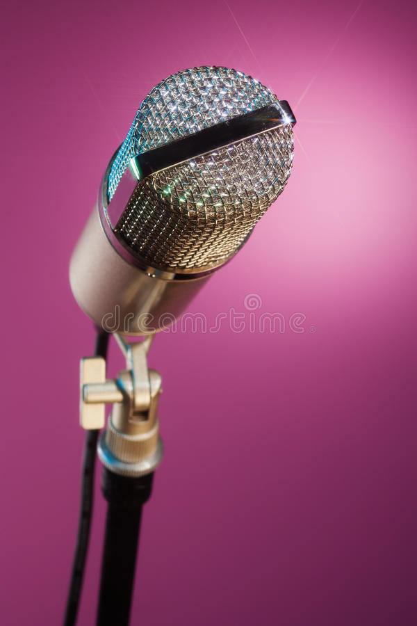Sparkling microphone waiting for star stock photos