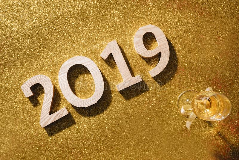 Sparkling New Year background, copy space. Champagne with decorations on New Year's Day stock photography