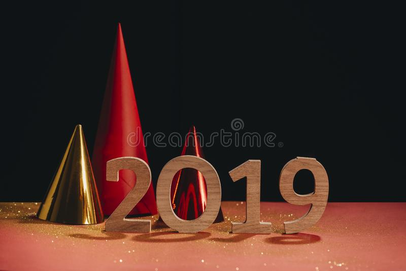 Sparkling New Year background, copy space. Champagne with decorations on New Year's Day royalty free stock photos