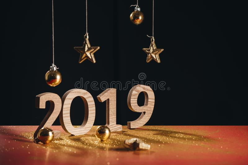 Sparkling New Year background, copy space. Champagne with decorations on New Year's Day stock images