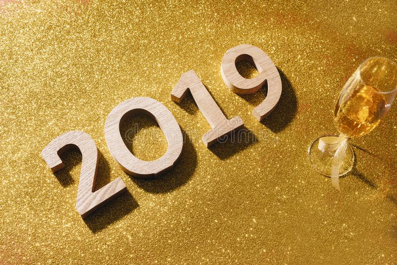 Sparkling New Year background, copy space. Champagne with decorations on New Year royalty free stock photography