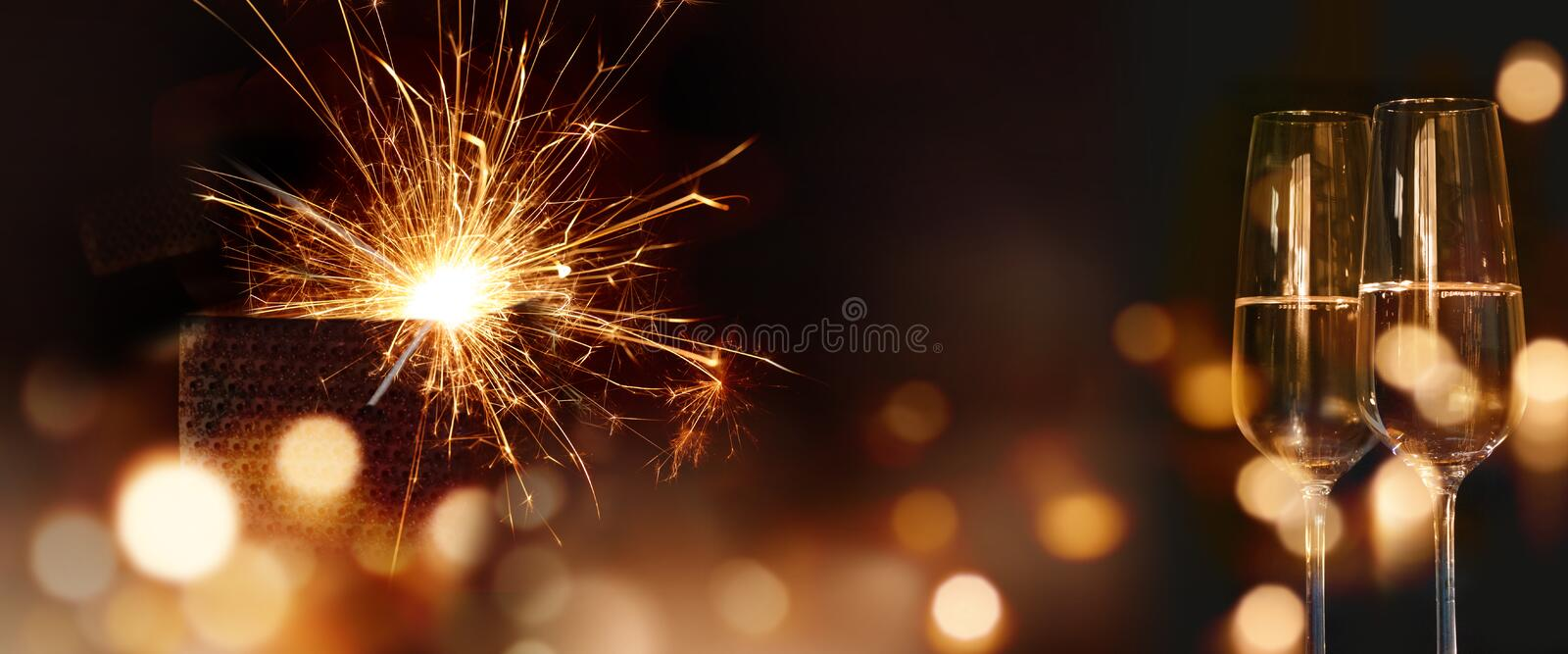 Sparkling new year wishes stock photos