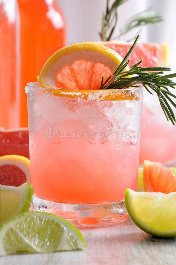 Sparkling pink paloma. This magnificent cocktail of fresh pink Palomas will change the way you look at tequila. A festive drink is ideal for brunch, parties and stock photo