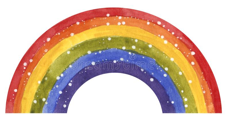 Sparkling rainbow, red, orange, yellow, green, blue, purple, hand drawn stock image